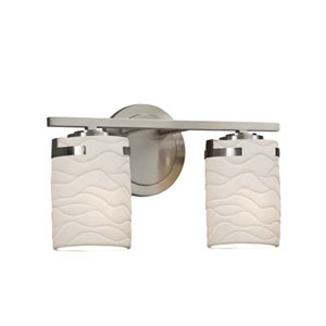Limoges - Atlas Brushed Nickel Two-Light LED Bath Bar with Cylinder Flat Rim Waves Shade
