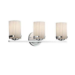 Limoges - Atlas Polished Chrome Three-Light LED Bath Bar with Cylinder Flat Rim Pleats Shade