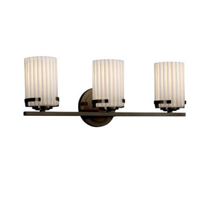 Limoges - Atlas Dark Bronze Three-Light Bath Bar with Cylinder Flat Rim Pleats Shade