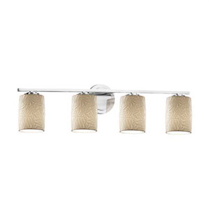Limoges - Atlas Polished Chrome Four-Light Bath Bar with Cylinder Flat Rim Bamboo Shade