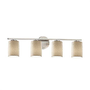 Limoges - Atlas Brushed Nickel Four-Light LED Bath Bar with Cylinder Flat Rim Bamboo Shade