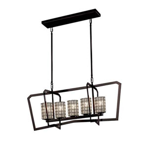 Wire Glass - Aria Dark Bronze Five-Light LED Chandelier with Cylinder Flat Rim Grid with Clear Bubbles Shade