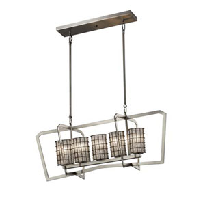 Wire Glass - Aria Brushed Nickel Five-Light LED Chandelier with Cylinder Flat Rim Grid with Clear Bubbles Shade