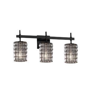 Wire Glass Union Matte Black Three-Light Bath Vanity