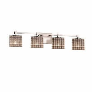 Wire Glass Tetra Brushed Nickel Four-Light LED Bath Vanity