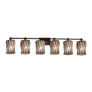 Wire Glass - Tetra Dark Bronze Six-Light LED Bath Bar with Cylinder Flat Rim Swirl with Clear Bubbles Shade
