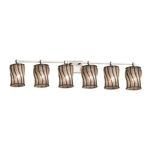 Wire Glass - Tetra Brushed Nickel Six-Light LED Bath Bar with Cylinder Flat Rim Swirl with Clear Bubbles Shade