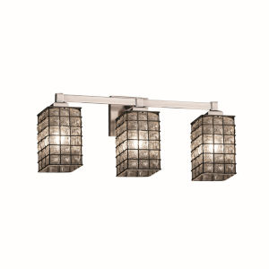 Wire Glass Regency Brushed Nickel Three-Light LED Bath Vanity