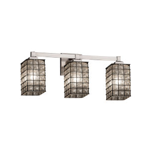 Wire Glass Regency Brushed Nickel Three-Light Bath Vanity