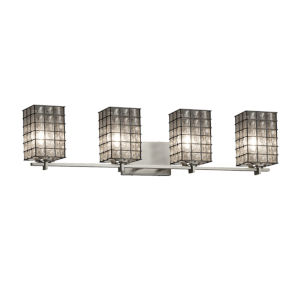 Wire Glass Era Brushed Nickel Four-Light LED Bath Vanity