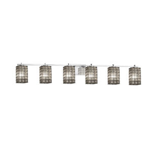 Wire Glass Polished Chrome Six-Light Bath Vanity