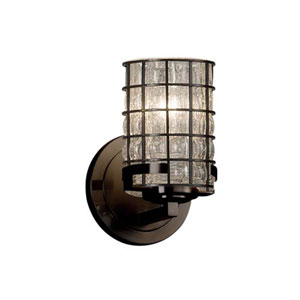 Wire Glass - Atlas Dark Bronze LED LED Wall Sconce with Cylinder Flat Rim Grid with Clear Bubbles Shade