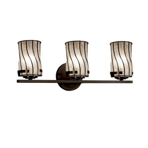 Wire Glass - Atlas Dark Bronze Three-Light Bath Bar with Cylinder Flat Rim Swirl with Clear Bubbles Shade