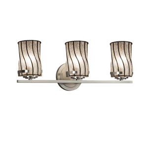 Wire Glass - Atlas Brushed Nickel Three-Light LED Bath Bar with Cylinder Flat Rim Swirl with Clear Bubbles Shade