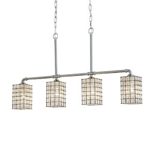 Wire Glass - Bronx Polished Chrome Five-Inch Four-Light LED Chandelier