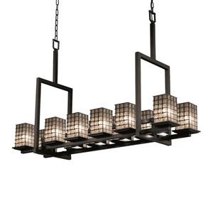 Wire Glass Matte Black 12-Light Tal Square Chandelier
