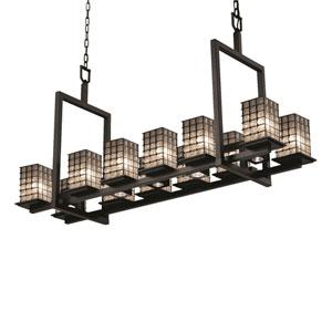 Wire Glass Matte Black 12-Light Sho Square Chandelier
