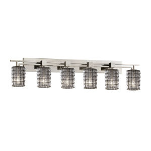 Wire Glass Brushed Nickel Six-Light LED Bath Vanity