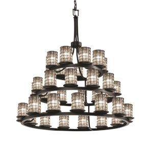 Wire Glass Matte Black 36-Light LED Chandelier