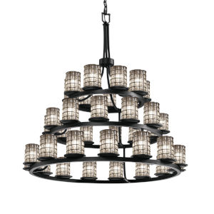 Wire Glass Matte Black 36-Light Chandelier