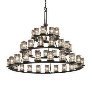 Wire Glass Matte Black 45-Light LED Chandelier