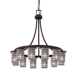 Wire Glass Dark Bronze 12-Light Chandelier