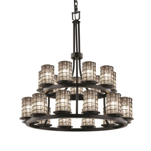 Wire Glass Matte Black 21-Light LED Chandelier