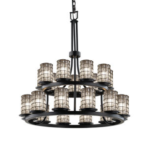 Wire Glass Matte Black 21-Light Chandelier