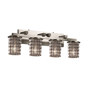 Wire Glass Brushed Nickel Four-Light Wall Sconce