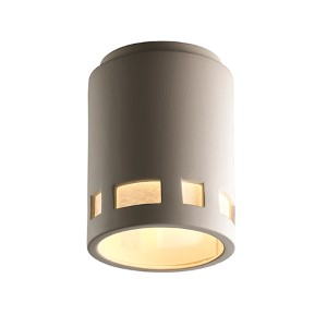 Radiance Bisque LED Cylindrical Outdoor Flush Mount with Prairie Window