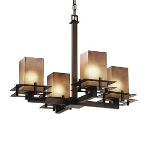 Fusion Dark Bronze Four-Light Flat Rim Square Chandelier with Caramel Glass