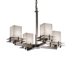 Clouds Brushed Nickel Four-Light Flat Rim Square Chandelier