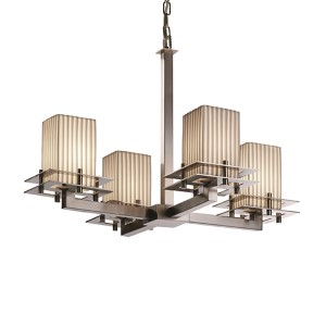 Limoges Brushed Nickel Four-Light Flat Rim Square Chandelier with Pleats Shade