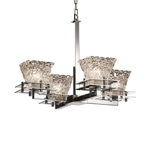 Veneto Luce Polished Chrome Four-Light Square Flared Chandelier with Lace Glass
