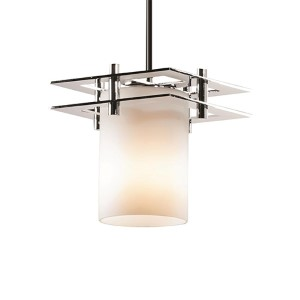 Fusion Polished Chrome One-Light Flat Rim Cylinder Mini Pendant with Two Flat Bar and Opal Glass