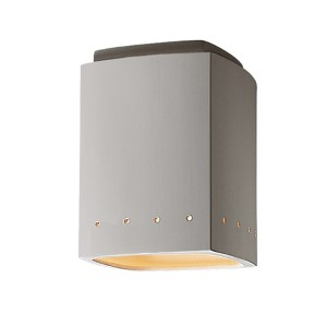 Radiance Bisque LED Rectangular Outdoor Flush Mount with Perforations
