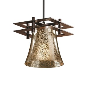 Fusion Dark Bronze One-Light Round Flared Mini Pendant with Two Flat Bar and Mercury Glass