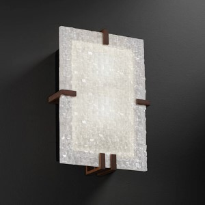 3Form Dark Bronze Two-Light Fluorescent Clips Rectangle Wall Sconce with Small Tile Shade