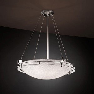 3Form Brushed Nickel Metropolis 28-Inch Wide Fluorescent Six-Light Round Bowl Pendant with Small Tile Shade
