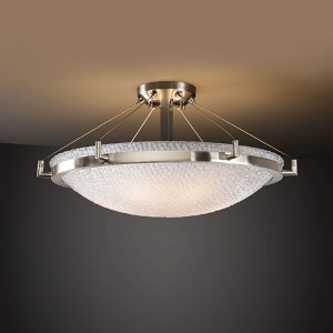 3Form Brushed Nickel 27-Inch Wide LED Semi-Flush Bowl with Ring and Small Tile Ecoresin Shade