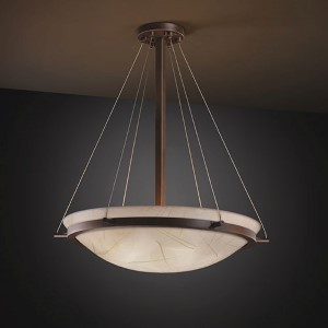 3Form Brushed Nickel 27-inch Wide LED Round Bowl Pendant with Ring and Fossil Leaf Ecoresin Shade