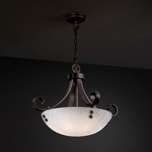 3Form Matte Black Fluorescent 24-Inch Wide Three-Light Bowl Pendant with Small Tile Shade