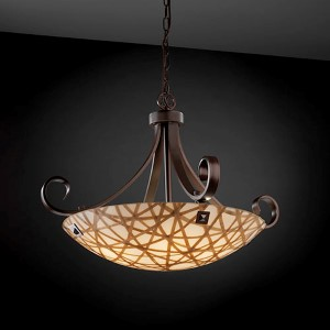 3Form Brushed Nickel Fluorescent 31-Inch Wide Six-Light Bowl Pendant with Connection Shade