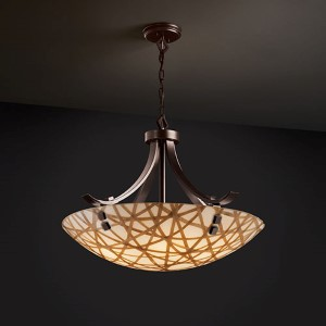 3Form Brushed Nickel Fluorescent 30-Inch Wide Fluorescent Six Light Bowl Pendant with Connection Shade