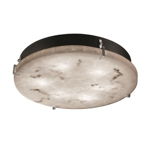 LumenAria Brushed Nickel 12-Inch Wide LED Round Clips Flush Mount
