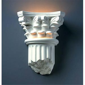Ambiance Celadon Green Crackle Corinthian Column Bathroom Wall Sconce