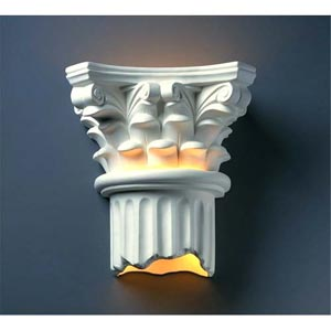 Ambiance Sienna Brown Crackle Corinthian Column Two-Light Bathroom Wall Sconce
