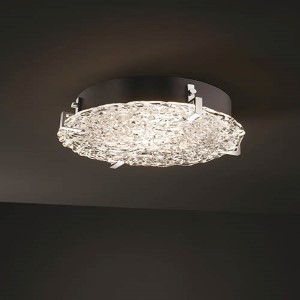 Veneto Luce Matte Black 16-Inch Wide LED Round Clips Flush Mount with Lace Glass