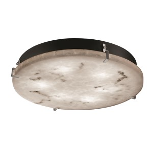 LumenAria Brushed Nickel 16-Inch Wide LED Round Clips Flush Mount