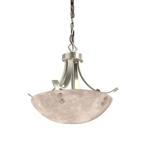 Clouds Brushed Nickel Two-Light 14-Inch Round Bowl Pendant with Flat Bars and Finial